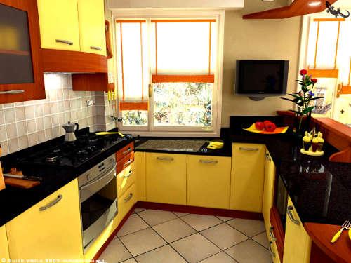Cozinha amarela em formato U