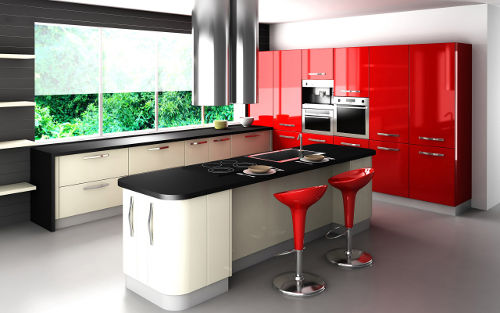 Cozinha moderna em preto e vermelho