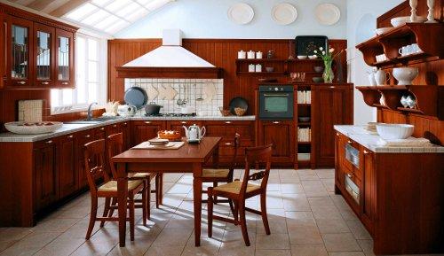 Cozinha tradicional em tons de castanho com branco