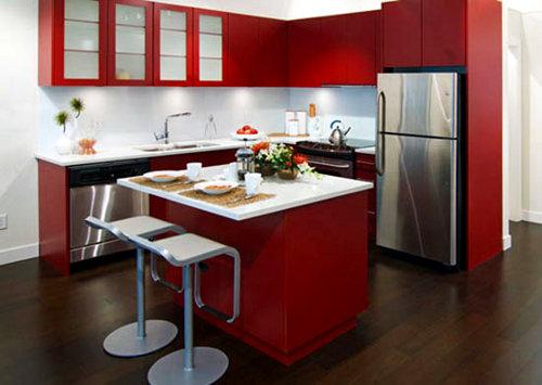 Combina��o dos vermelhos numa cozinha em ilha