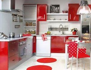 Decoração da cozinha com tons de vermelho