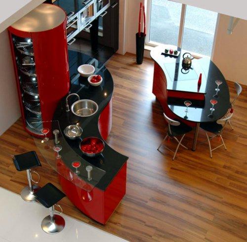 Excelente conjuga��o dos tons vermelhos nesta cozinha em ilha